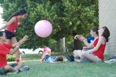 Playing Ball at First Presbyterian Church in Iowa City